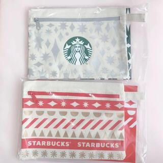 Starbucks Coffee - スターバックス ホリデーポーチ 2020 赤 白 2点 セット