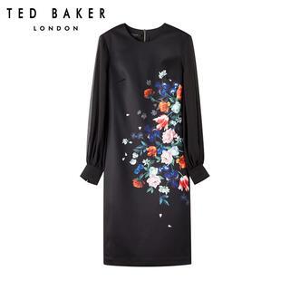 テッドベイカー(TED BAKER)の❤️Ted baker  2020 秋新作 新品 黑花柄ワンピース オシャレ(ひざ丈ワンピース)