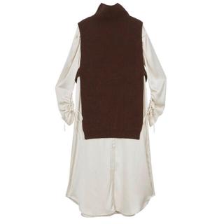 Ameri VINTAGE - VEST LAYERED SHIRT DRESS ブラウンM Ameri