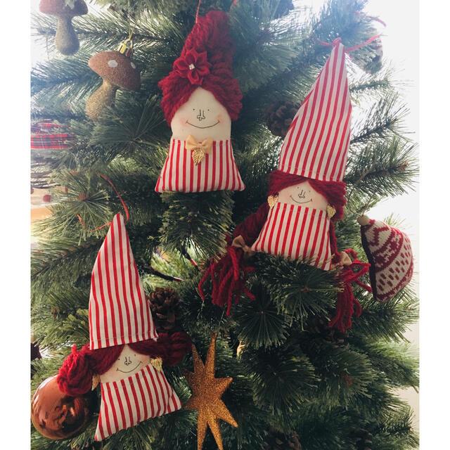 ドールオーナメント-3     クリスマスバージョン ストライプ三姉妹 ハンドメイドの生活雑貨(雑貨)の商品写真