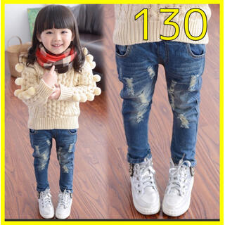 130 キッズ クラッシュデニム デニム 韓国子供服 C08