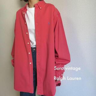 ポロラルフローレン(POLO RALPH LAUREN)の90s ラルフローレン 刺繍ロゴ シャツ ピンク×水色 古着女子 vintage(シャツ/ブラウス(長袖/七分))