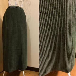 used モスグリーン×ブラウン♡リブニットレトロスカート♡ロングスカート