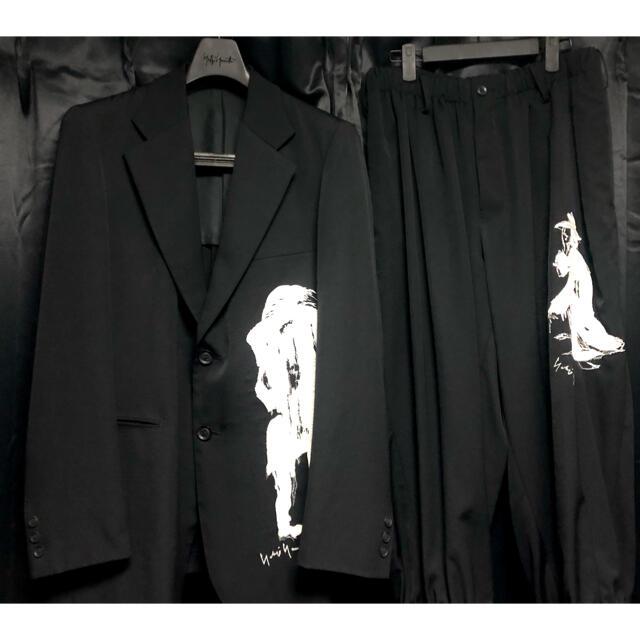 Yohji Yamamoto(ヨウジヤマモト)のYohji Yamamoto  pour homme  刺繍セットアップ メンズのスーツ(セットアップ)の商品写真
