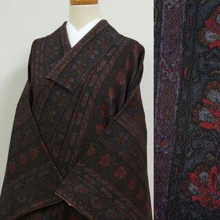 暗い紫に縦縞の草花 小紋(着物)