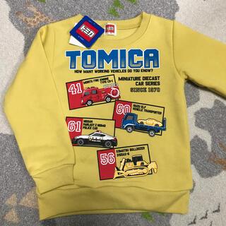 【新品】トミカ 長袖トップス 裏起毛トレーナー イエロー110