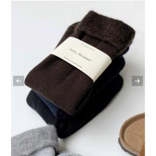 アパルトモンドゥーズィエムクラス(L'Appartement DEUXIEME CLASSE)のL'Appartement warm socks ブラウン新品(ソックス)