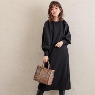 natural couture - ボリューム袖カットワンピース ブラック