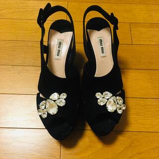 miumiu - ミュウミュウ黒パンプススウェードサンダルパーティ結婚式ビジュー靴プラダフォクシー