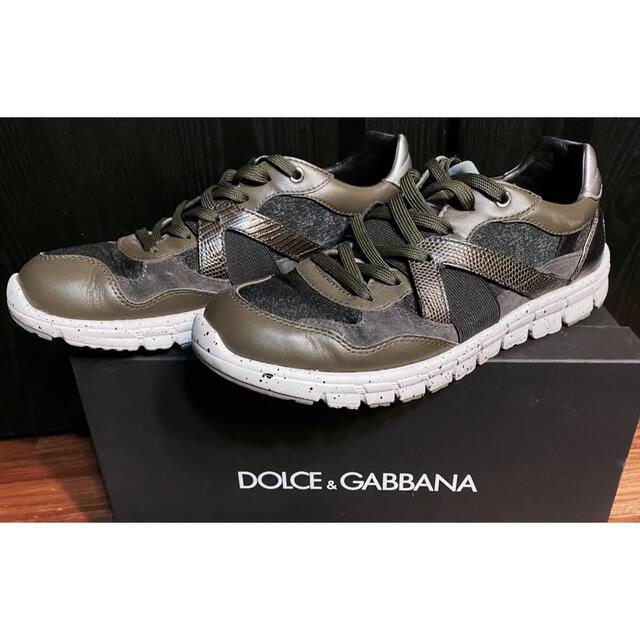 DOLCE&GABBANA(ドルチェアンドガッバーナ)の美品ドルチェ&ガッバーナD&Gスニーカー6.5シューズ靴ハイテク25秋冬カーキ メンズの靴/シューズ(スニーカー)の商品写真