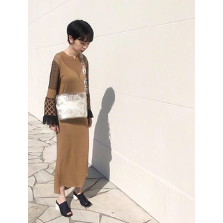 mame - mame kurogouchi I Line Knit Dress brown