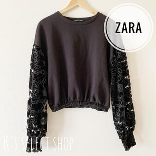 ZARA - 美品【ZARA】花柄ボリューム袖 トップス ブラック S