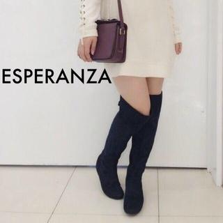 エスペランサ(ESPERANZA)の【ESPERANZA】ローヒール ニーハイブーツ スウェード 黒 Sサイズ(ブーツ)