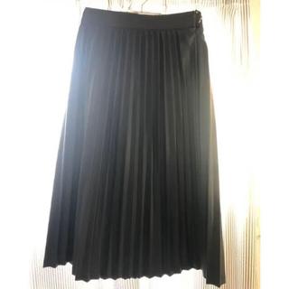 KBF - KBF プリーツフェイクレザースカート ミディ丈スカート