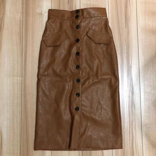 H&M - レザースカート タイトスカート ブラウンレザー