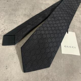 Gucci - 【新品タグ付き】GUCCI ネクタイ GG柄 シルク100% 黒