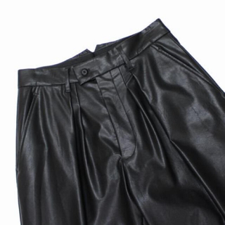 COMOLI - stein  EX WIDE TAPERED TROUSERS LEATHER