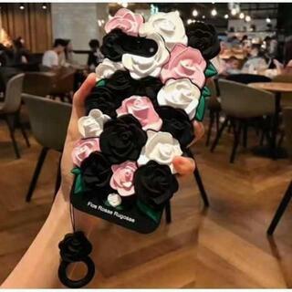 立体はな 3D 薔薇のシリコンケース スマホケース ブラック