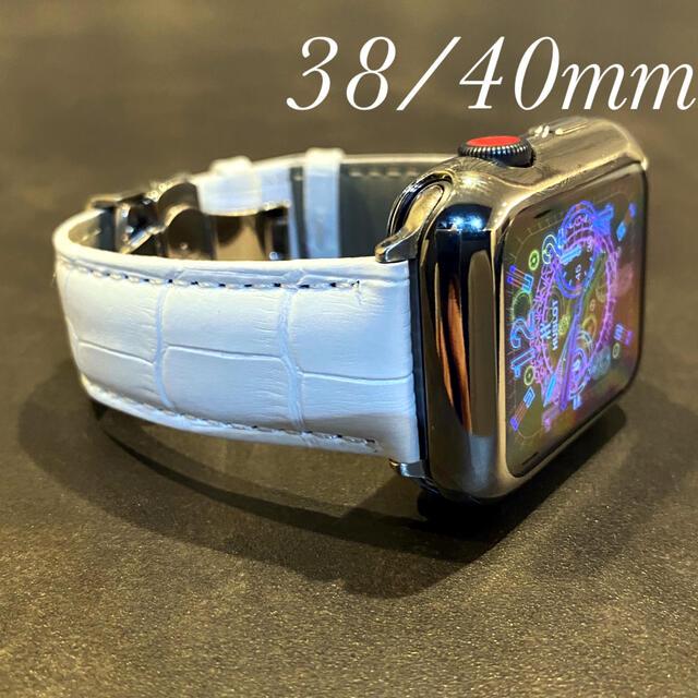 Apple(アップル)の【バックルタイプ】ホワイト レザー クロコダイル アップルウォッチ バンド 革 メンズの時計(レザーベルト)の商品写真