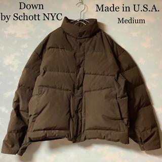 ショット(schott)のUSA製 Schott ダウンジャケット Down ブラウン ショット NYC(ダウンジャケット)