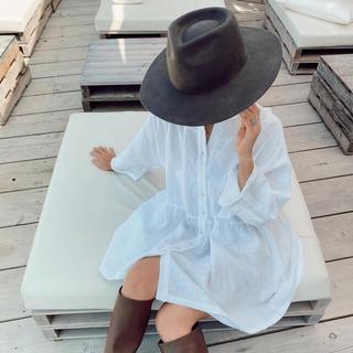 アリシアスタン(ALEXIA STAM)のアリシアスタン Stand Collar Shirt Dress White(ひざ丈ワンピース)