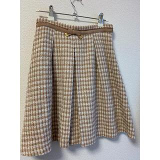 レッセパッセ(LAISSE PASSE)のミルクティー色 チェックフレアスカート(ひざ丈スカート)