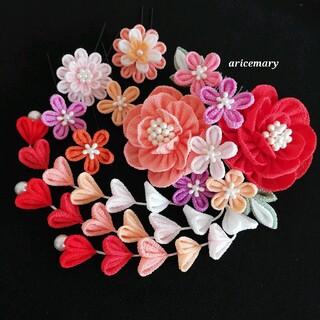 サーモンピンクと朱赤の牡丹のつまみ細工髪飾り(ヘアアクセサリー)
