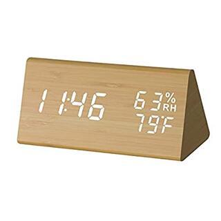 木製デジタル目覚まし時計  多機能アラーム カレンダー表示
