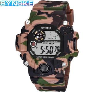 新品 SYNOKE デジタルダイバーズウォッチ ビックフェイス カモフラージュ(腕時計(デジタル))