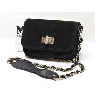 ミッソーニ(MISSONI)のミッソーニ チェーン ショルダーバッグ バックスキン 黒 ブラック イタリア製(ショルダーバッグ)