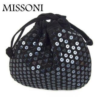 ミッソーニ(MISSONI)のミッソーニ MISSONI スパンコール レザー 巾着式 ポーチ ミニ バッグ(ポーチ)