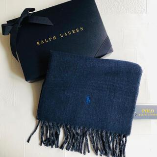 ポロラルフローレン(POLO RALPH LAUREN)の新作 ラルフローレン メンズ リバーシブル マフラー イタリア チェック 紺(マフラー)