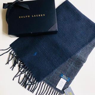 ラルフローレン(Ralph Lauren)の新作 ラルフローレン メンズ リバーシブル マフラー イタリア チェック 紺(マフラー/ショール)