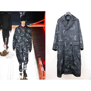 ディオールオム(DIOR HOMME)の正規品 16aw Dior homme ローズ ロングコート 黒×グレー 42(チェスターコート)