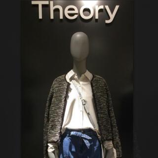 theory - 美品2018年 theory コットンツイードノーカラーカーディガンジャケット