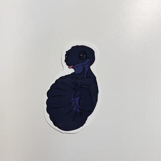 オリジナル 爬虫類 まんまるレオパステッカー【ブラックナイト】(しおり/ステッカー)