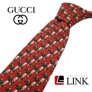 Gucci - 【正規品】最高級シルク100% グッチ GUCCI ネクタイ レッド サッカー