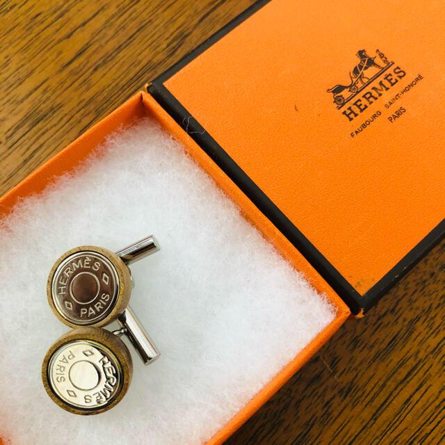 Hermes(エルメス)のエルメス セリエ カフス シルバー ウッド  メンズのファッション小物(カフリンクス)の商品写真