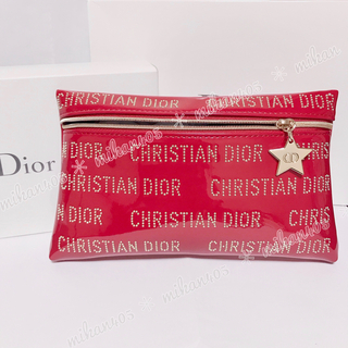 Dior - ディオール ノベルティ ポーチ エナメル レッド  コスメポーチ 化粧ポーチ
