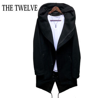 THE TWELVE - THE TWELVE ボリュームネックコート 黒 ロングコート 高級感