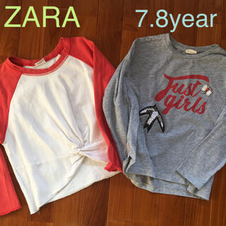 ザラキッズ(ZARA KIDS)のZARA 長袖Tシャツ 2枚組 7.8歳用 ザラ(Tシャツ/カットソー)