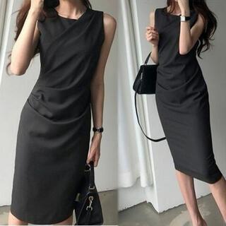 ブラック フリーサイズ フロントクロス ノースリーブ ワンピース ドレス ひざ丈