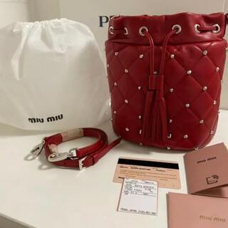 miumiu - 新品 MIU MIUミュウミュウ バケットバッグ 巾着ショルダー スタッズ