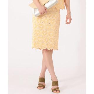 デミルクスビームス(Demi-Luxe BEAMS)の売り切り価格!BEAMS花刺繍スカート(ひざ丈スカート)