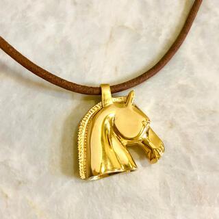Hermes - 正規品 エルメス ネックレス 馬 シュバル 金 ホース レザー 革 ゴールド 茶