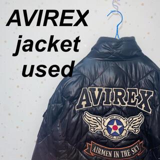 アヴィレックス(AVIREX)の【希少】アビレックス ダウンジャケット 黒 美品 古着 刺繍 ワッペン(ダウンジャケット)