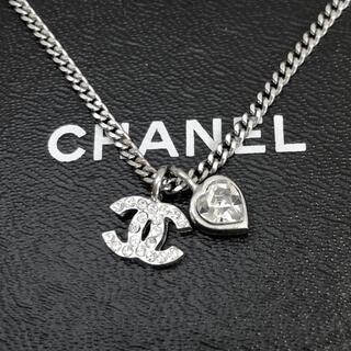 CHANEL - 正規品 シャネル ネックレス ハート シルバー ココマーク ラインストーン 銀
