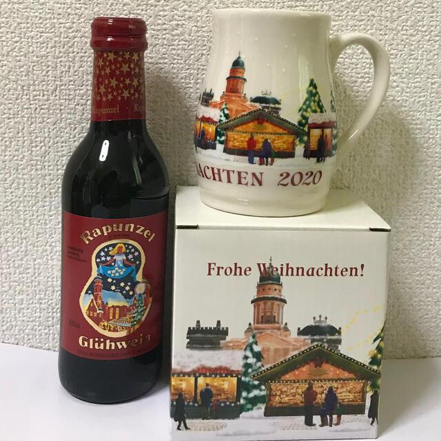 KALDI(カルディ)のKALDIクリスマス仕様マグカップ&ラプンツェル グリューワイン ベビー赤 限定 食品/飲料/酒の酒(ワイン)の商品写真