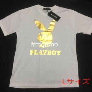プレイボーイ(PLAYBOY)の⚫️値下不可⚫️ メンズ PLAY BOY Tシャツ ホワイト×ゴールド(Tシャツ/カットソー(半袖/袖なし))