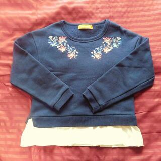 【mako様専用】花刺繍入り裏起毛トップス ネイビー 120cm 子供服 長袖(Tシャツ/カットソー)